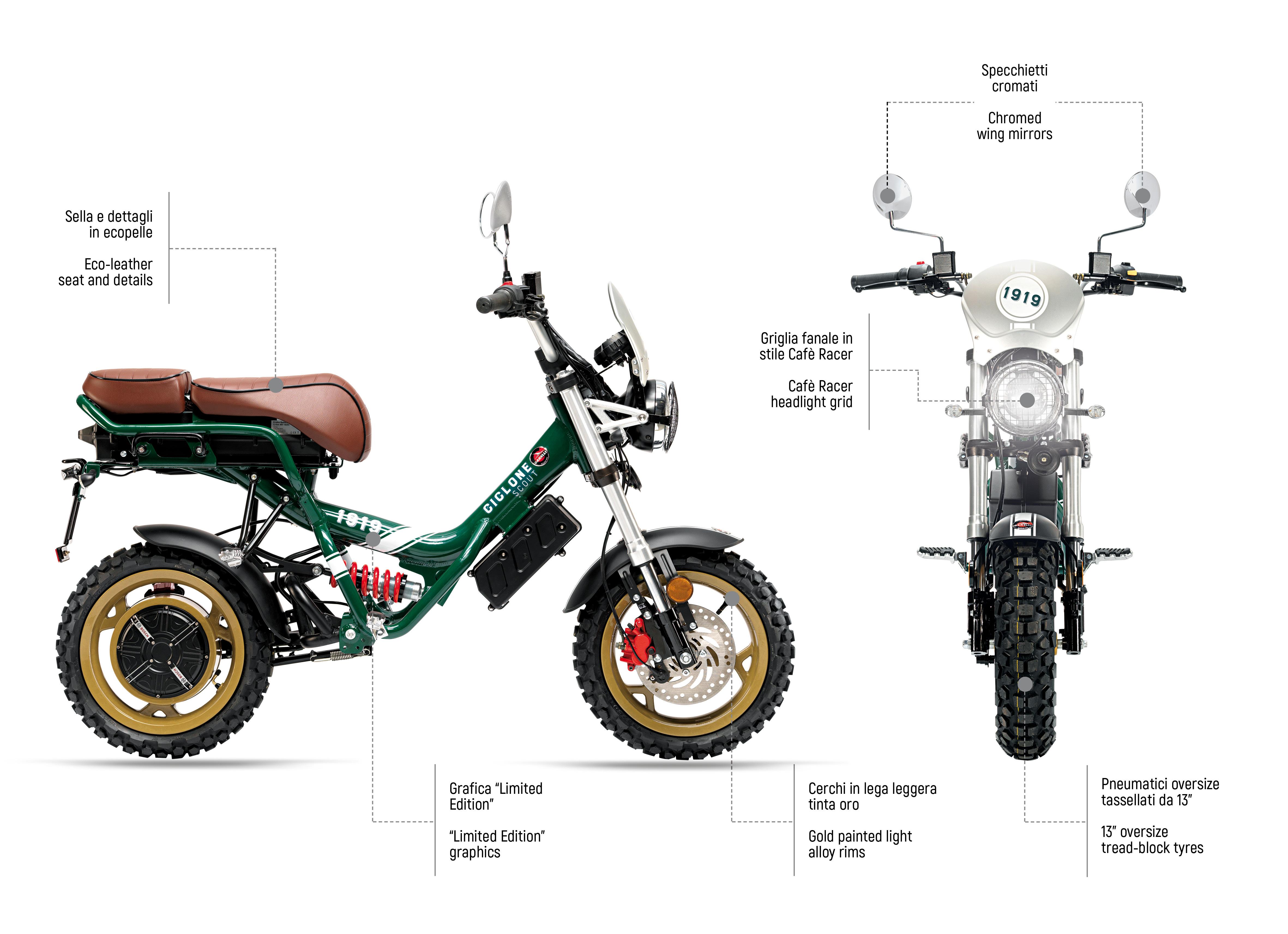 Ciclone in versione Scout, i dettagli della componentistica